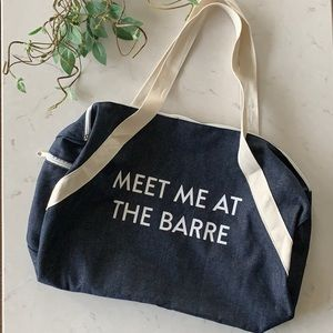 """Private Party """"Meet Me At The Barre"""" Denim Gym Bag"""